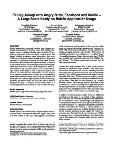 Falling asleep with Angry Birds, Facebook and Kindle: a large scale study on mobile application usage