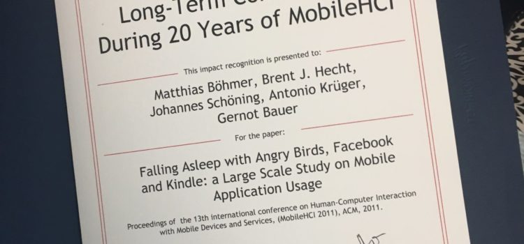Award: Most cited MobileHCI Paper
